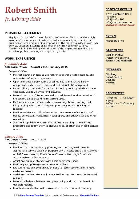 Jr. Library Aide Resume Model