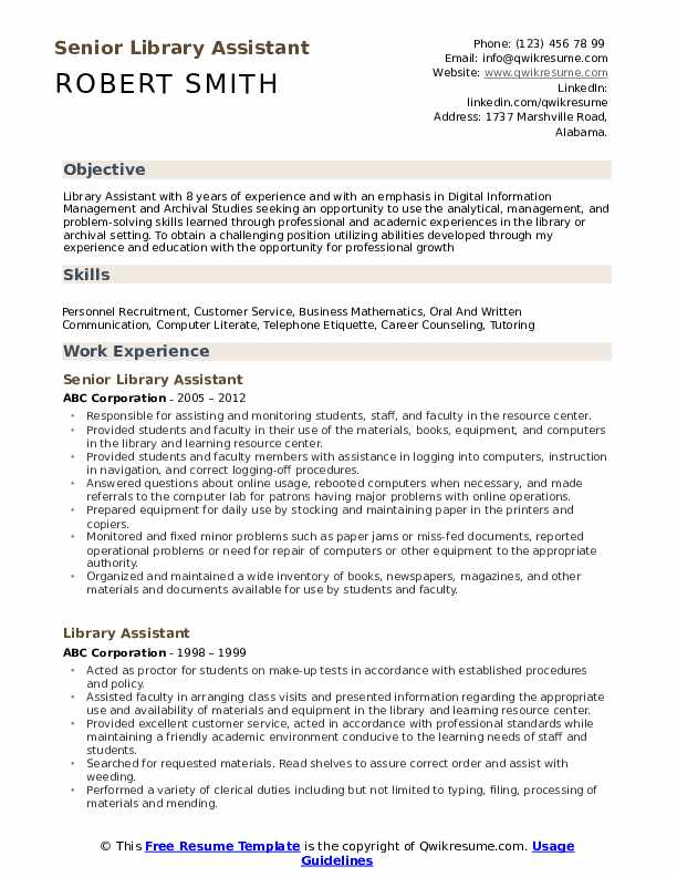Senior Library Assistant Resume Model