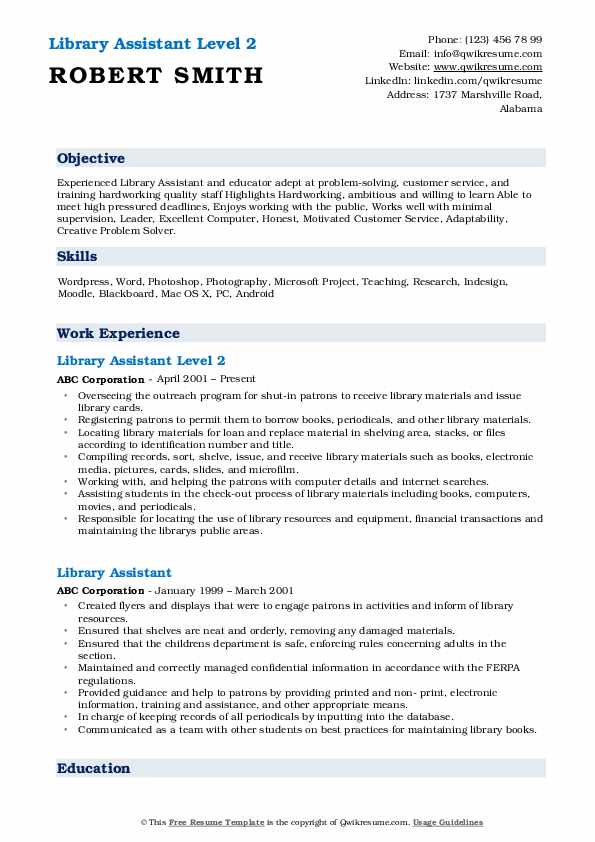 Library Assistant Level 2 Resume Format