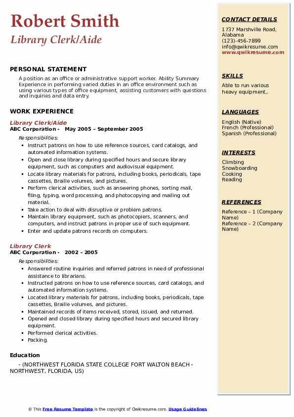 Library clerk resume sample lipset rokkan thesis