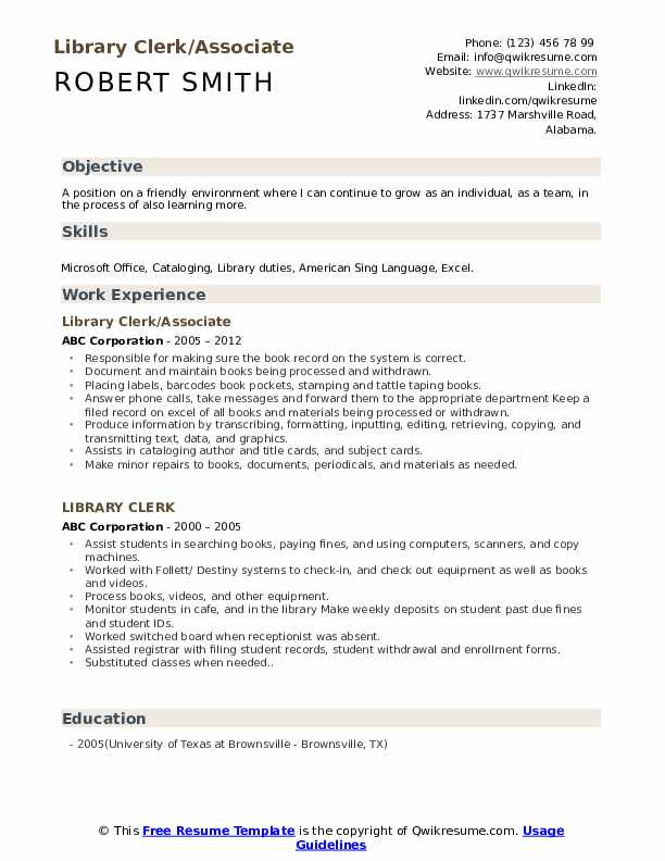 Library Clerk Resume Samples | QwikResume