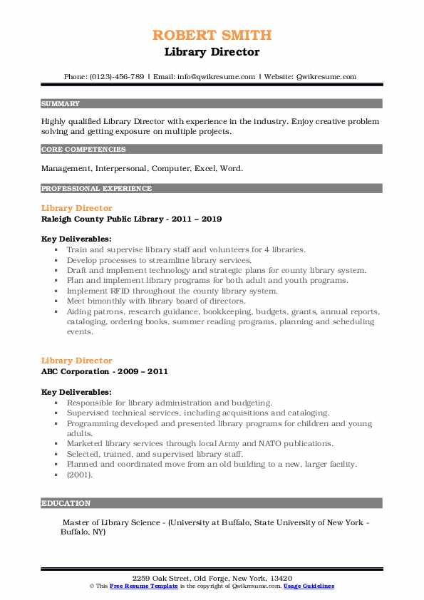 Library Director Resume example