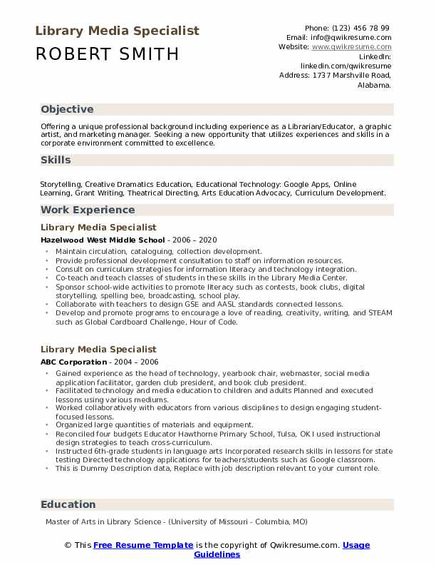 Sample school library media specialsit resume professional phd movie review samples