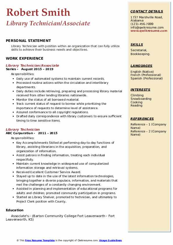 Library Technician Resume Samples Qwikresume