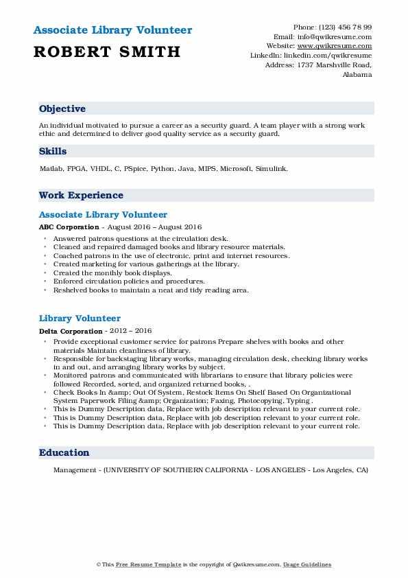 library volunteer resume samples