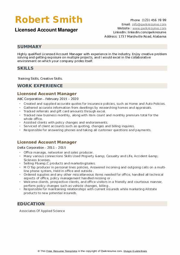 Licensed Account Manager Resume example