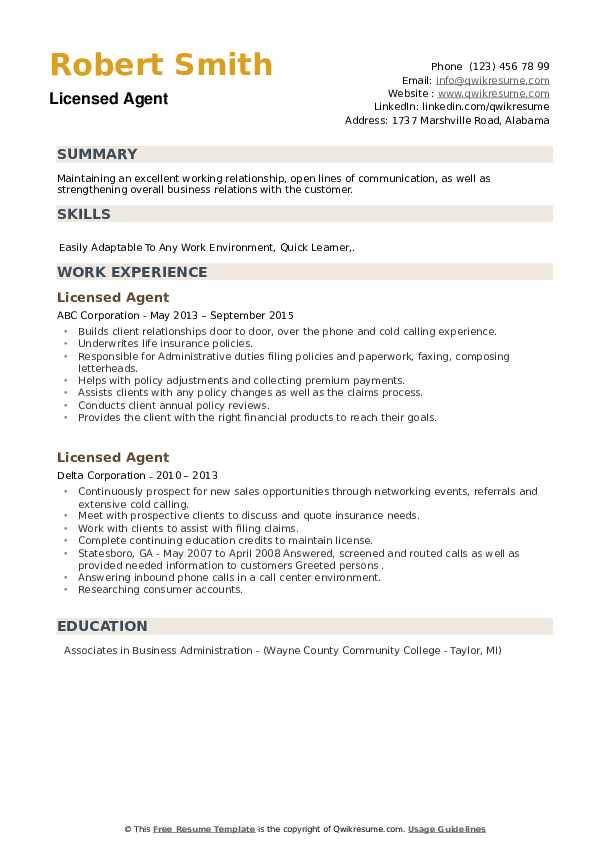Licensed Agent Resume example