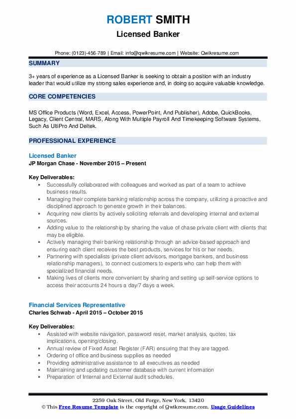 licensed banker resume samples