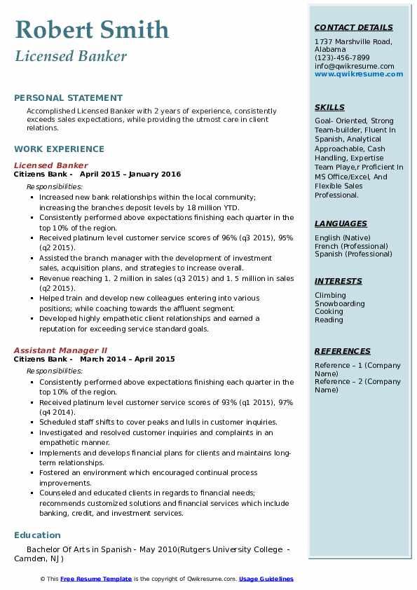 Licensed Banker Resume Samples Qwikresume