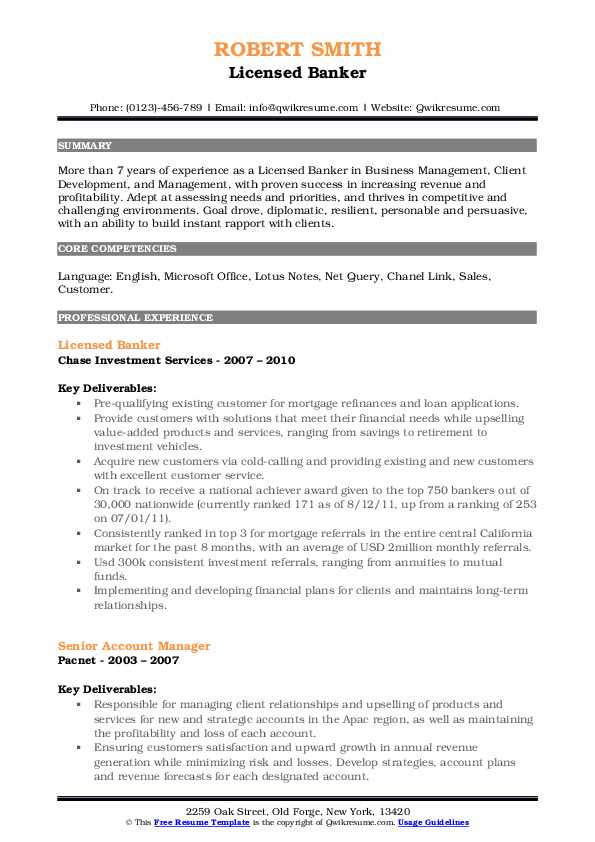 licensed banker resume samples