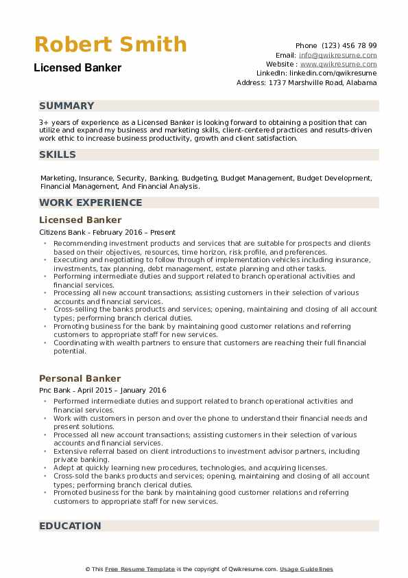 Licensed Banker Resume example