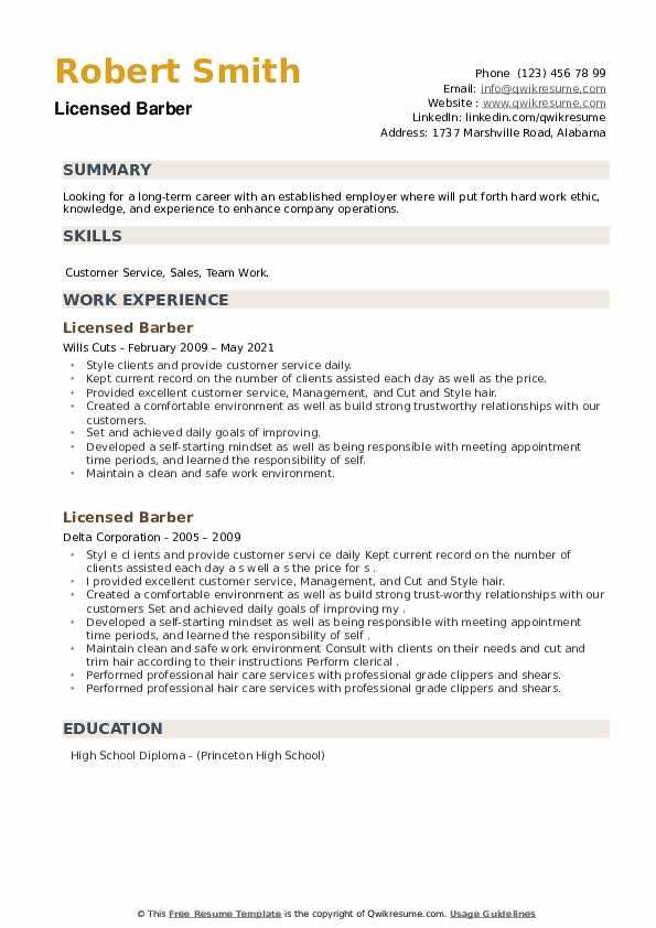 Licensed Barber Resume example