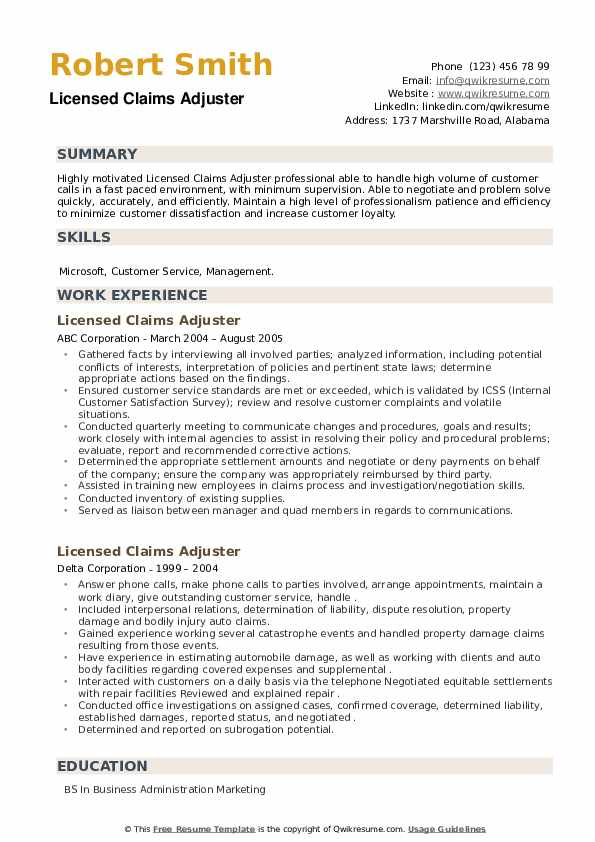 Licensed Claims Adjuster Resume example