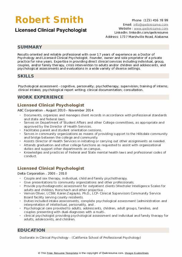 Licensed Clinical Psychologist Resume example