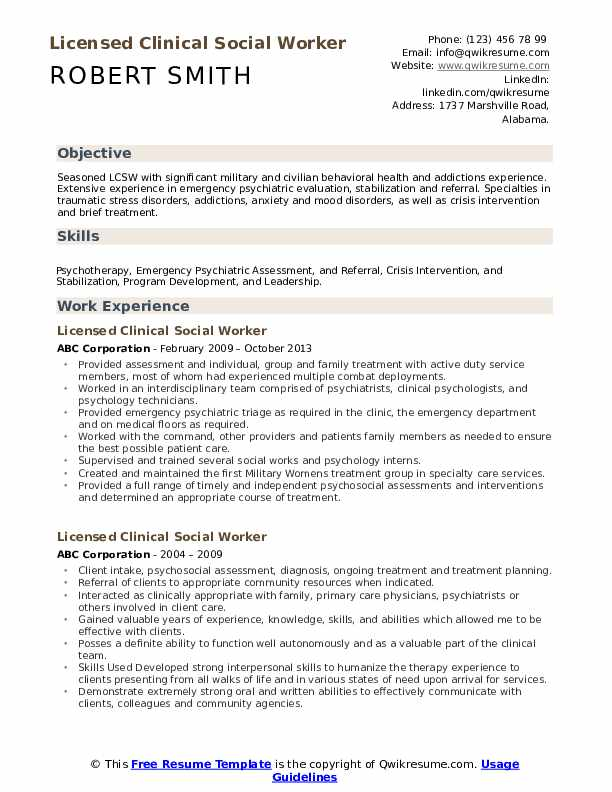 licensed clinical social worker resume samples