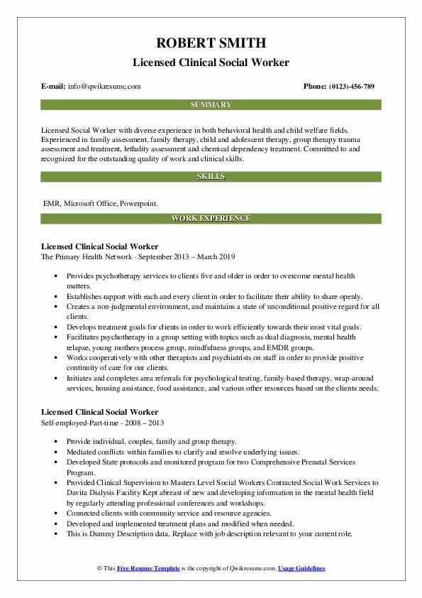 licensed clinical social worker resume samples  qwikresume