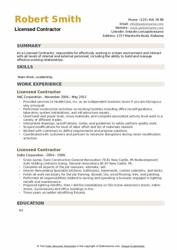 Licensed Contractor Resume example