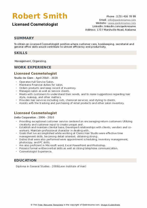 Licensed Cosmetologist Resume example