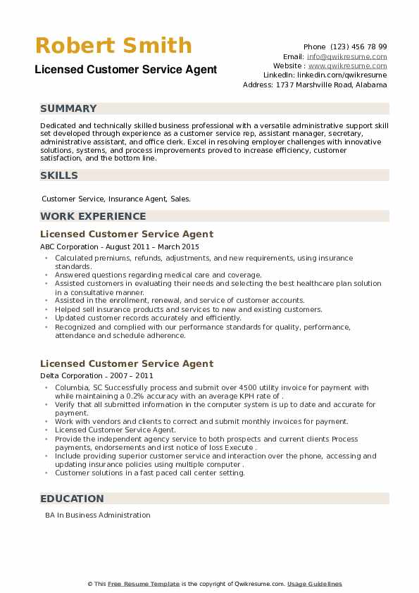 Licensed Customer Service Agent Resume example