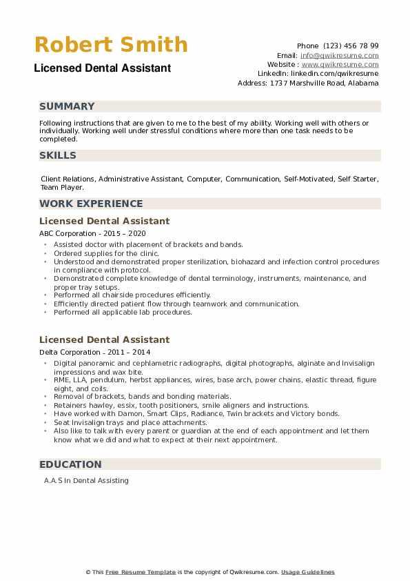 Licensed Dental Assistant Resume example