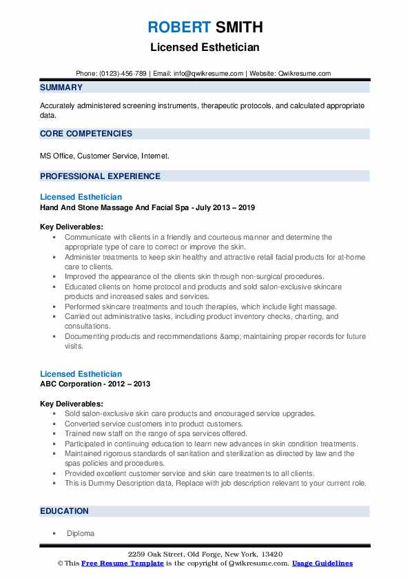 Licensed Esthetician Resume example