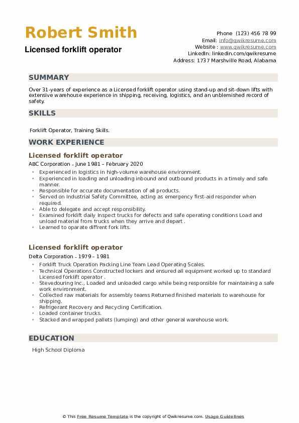 Licensed forklift operator Resume example