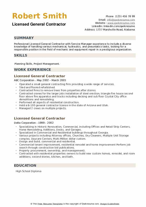 Licensed General Contractor Resume example