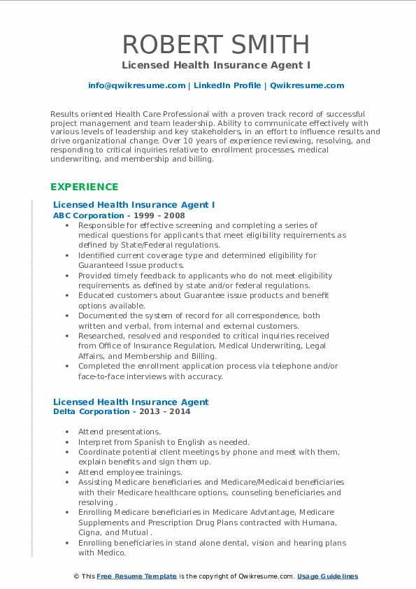 Licensed Health Insurance Agent Resume Samples   QwikResume