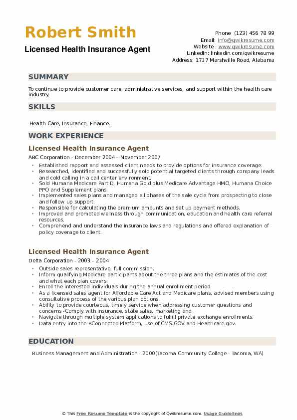 Licensed Health Insurance Agent Resume example