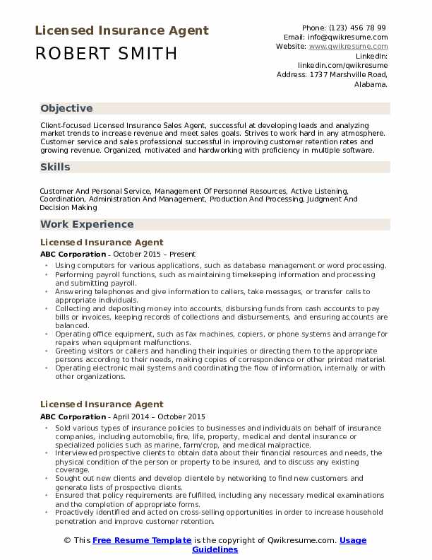 Licensed Insurance Agent Resume Format