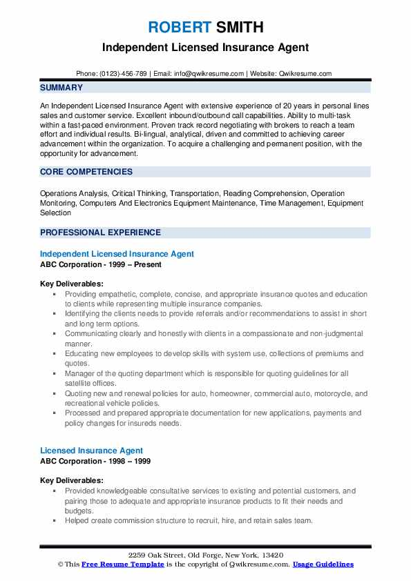 Independent Licensed Insurance Agent Resume Model