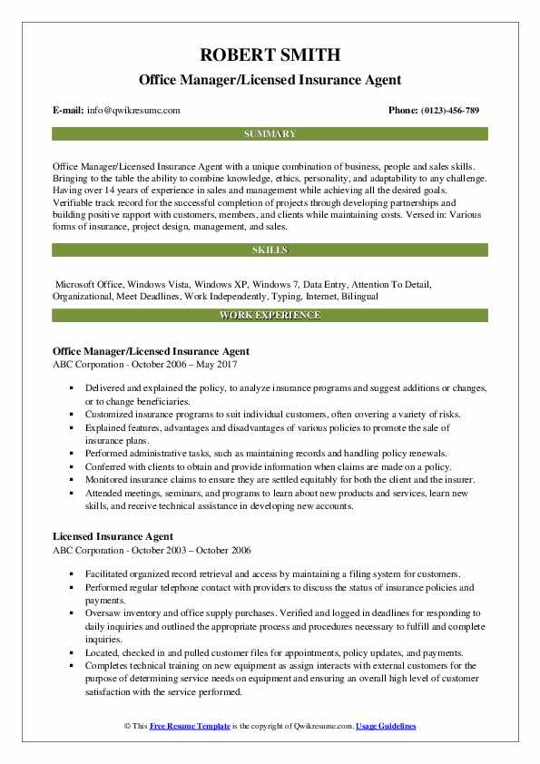 Office Manager/Licensed Insurance Agent Resume Model