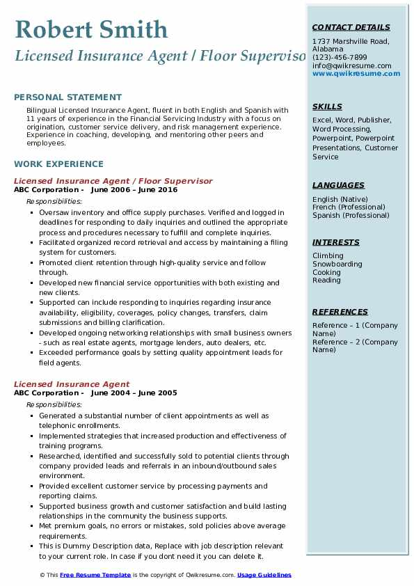 Licensed Insurance Agent / Floor Supervisor Resume Template
