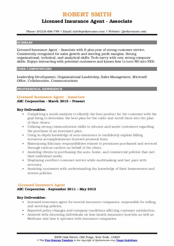 Licensed Insurance Agent - Associate Resume Template