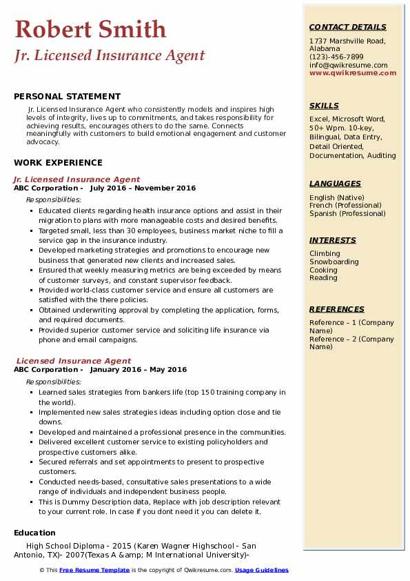 Jr. Licensed Insurance Agent Resume Model