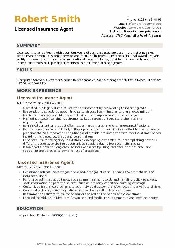 Licensed Insurance Agent Resume Model