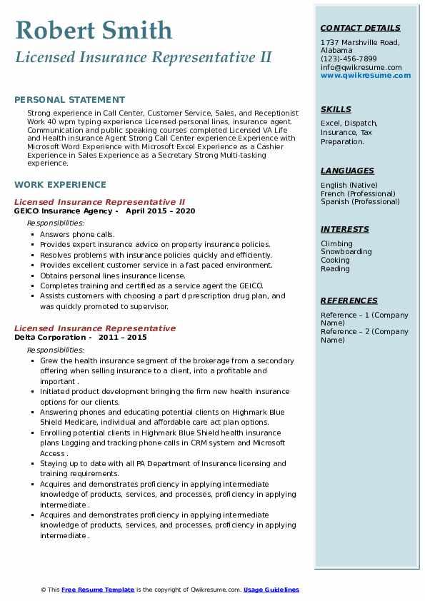 Licensed Insurance Representative Resume Samples Qwikresume