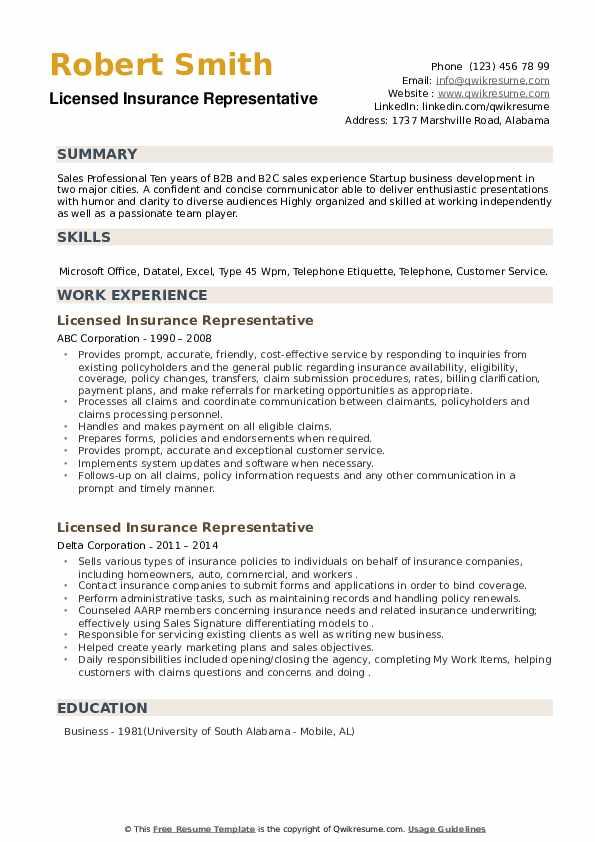 Licensed Insurance Representative Resume example