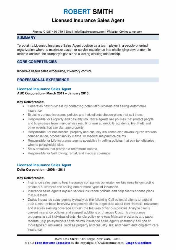 licensed insurance sales agent resume samples  qwikresume