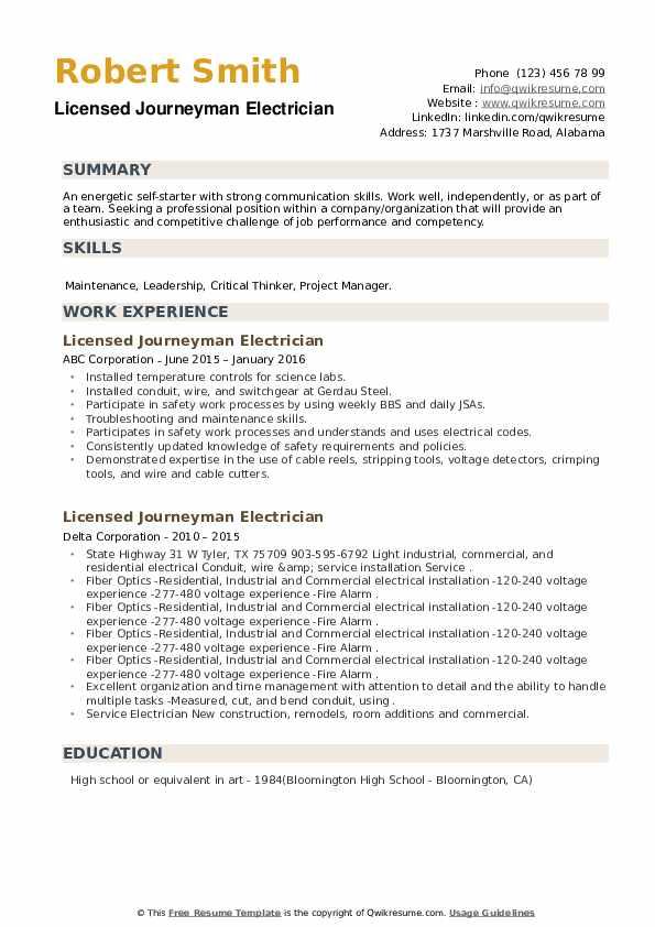 Licensed Journeyman Electrician Resume example