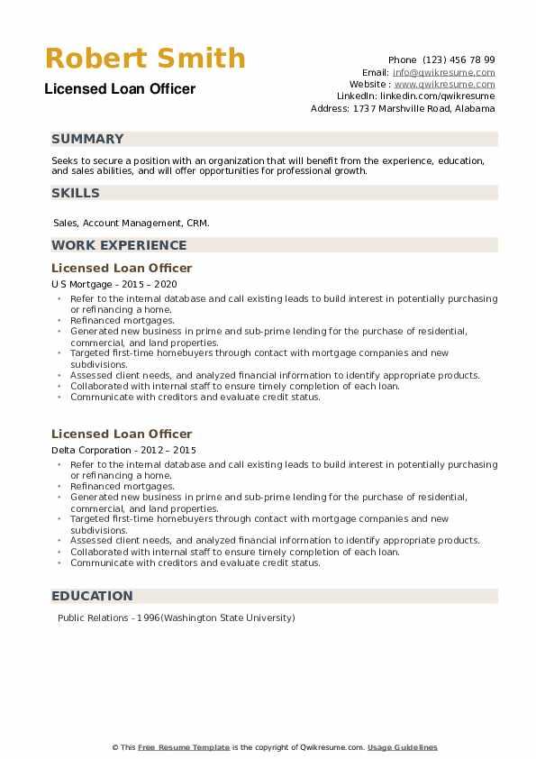 Licensed Loan Officer Resume example