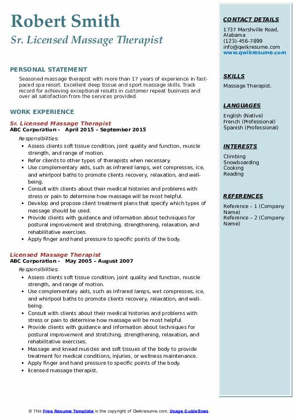 licensed massage therapist resume samples