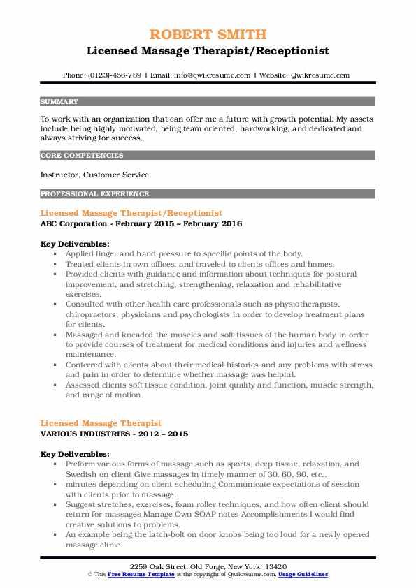 licensed massage therapist resume samples