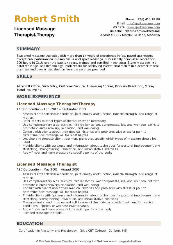 Licensed Massage Therapist Resume Samples | QwikResume