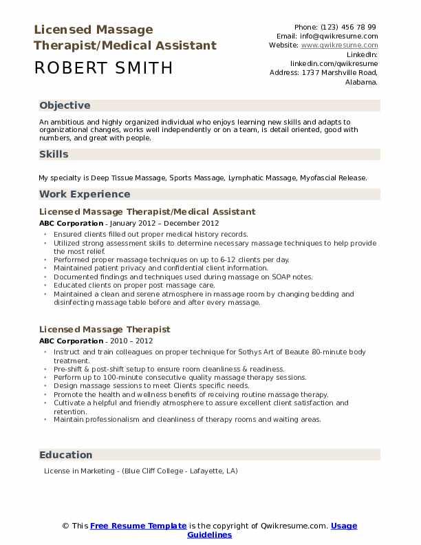 Licensed Massage Therapist/Medical Assistant Resume Format