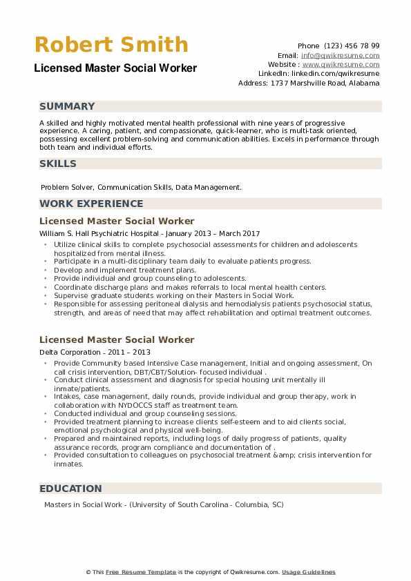 Licensed Master Social Worker Resume example
