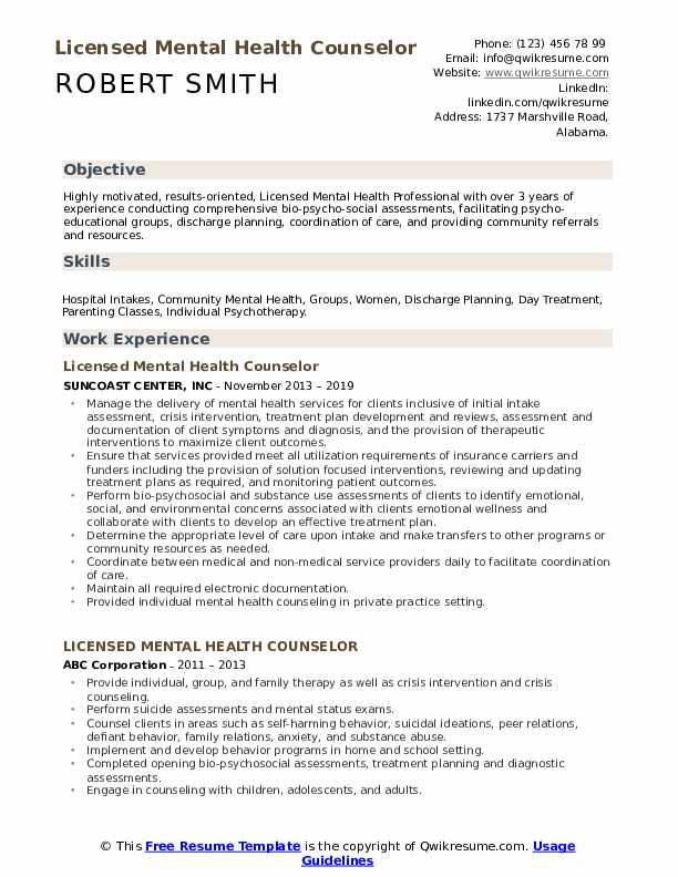 Licensed Mental Health Counselor Resume Samples | QwikResume