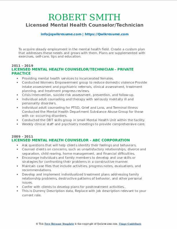 licensed mental health counselor resume samples  qwikresume