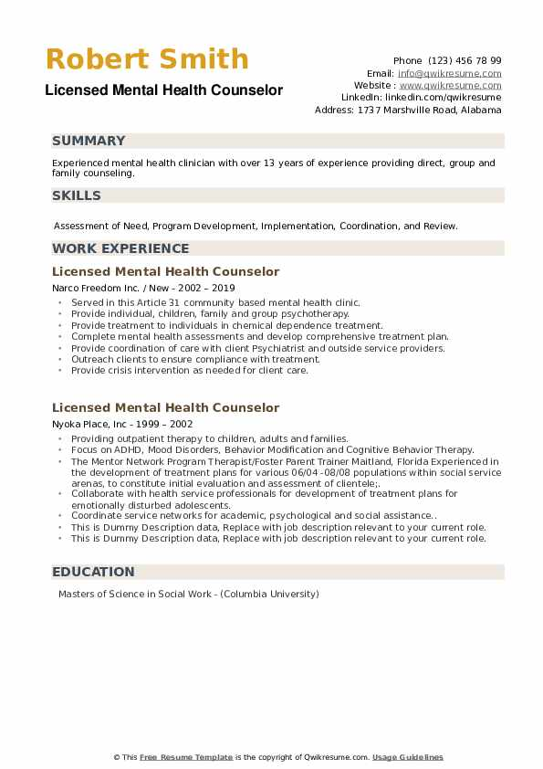 Licensed Mental Health Counselor Resume example