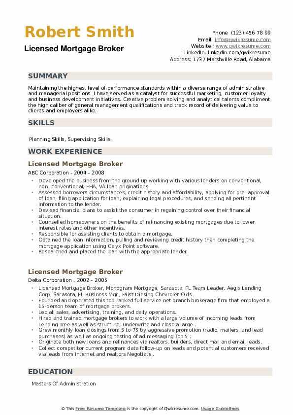 Licensed Mortgage Broker Resume example